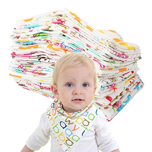 Slowera Baby Girls 100% Cotton Random Color Double Fabric Triangle Drool Bibs Sets (10 Pack)
