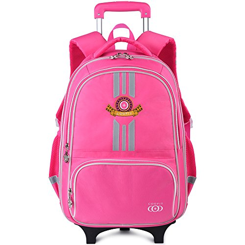 Kids Personalized Luggage - Rolling Backpack, School Backpack With Wheels, COOFIT Rolling Suitcase Luggage With Front Pouch And Side Bottle Holders For Boys And Girls (Rose Pink)