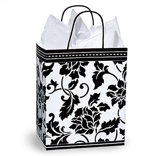 Floral Brocade Paper Shopping Bags - Cub Size - 8 1/4 x 4 3/4 x 10 1/2in. - 250 Pack by NW