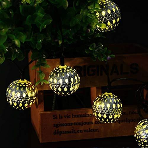 Zilveren Marokkaanse Orb Lichtslingers,KINGCOO Waterdicht 20LED Goble Bal Lantaarn Zonne Fee Decoratief Licht met 8 Modi…
