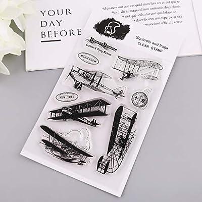 Qiman Tarjeta del Mundo Transparente Silicona Clear Rubber Stamp Cling peri/ódico Recortes Tuercas
