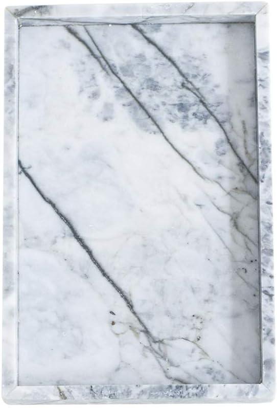 Plato Ensalada Bandeja de mármol Bandeja de exhibición de Estilo nórdico Bandeja de Almacenamiento de Piedra Natural Postre Sushi vajilla (Color : Blanco, Size : 30 * 20 * 3cm)