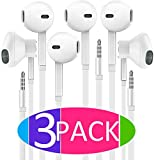 Wired Earbuds, In-Ear Earphones [3-PACK] with Microphone, 3.5mm Stereo Jack Headphones with Enhanced Bass Stereo Noise Cancelling Volume Control Flat Cord for Apple iPhone, Android, Samsung and More