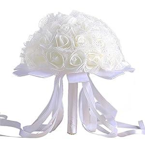 QHB Wedding Bridal Bouquet, Handmade Crystal Ribbon Rhinestone Wedding Bridesmaid Bouquet,Crystal Ribbon Roses Bridesmaid Wedding Bouquet Bridal Artificial Silk Flowers Cheap (E) 12