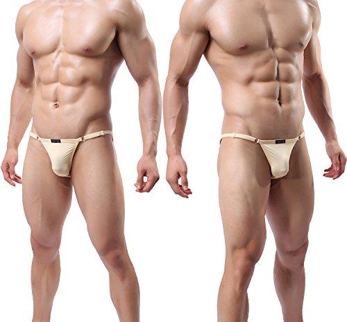 13633ac1b YuKaiChen Men Briefs Low Rise Ice Silk String Bikini Briefs Underwear  5-Pack at Amazon Men s Clothing store