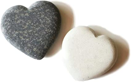 "Heart Shape Stones 1.5"" - 1 each: Gray, Cream: Amazon.co.uk: Garden &  Outdoors"