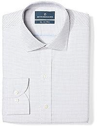 Men's Slim Fit Gingham & Stripe Pattern Non-Iron Dress Shirt