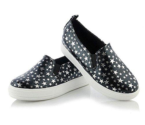 Chfso Dames Casual Zachte Elastische Sterrenprint Fashion Sneakers Schoenen Zwart