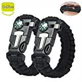 Odlive Survival Paracord Bracelet kit with Compass Flint Fire Starter Scraper knife Whistle for Ourdoor Hunting Hiking Camping Boating Fishing Emergency, Black 2pcs