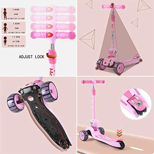 Kinderen Folding Autoped, In Hoogte Verstelbaar Scooter Met PU Flashing Wheels, For 2-12 Jaar Oude Kinderen Kickboard (Color : Green-5cm wide wheels)