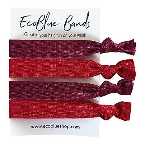 School Hair elastics, Ponytail Holders, Pony Tail Elastics, Hair Ties, Ponies, Ponytail sets, Fold Over Elastic (4 hair ties on card) (RED MIX)