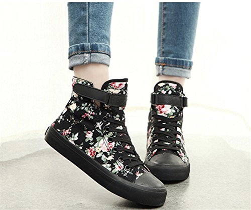 Image of SATUKI Adult Women's Flat Floral High Top Lace up Casual Canvas Shoes Fashion Sneakers