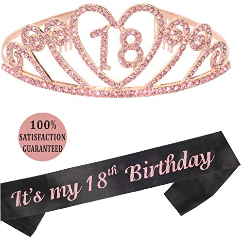 18th Birthday Tiara and Sash | Pink 18th Birthday Party Supplies Happy 18th Birthday Party Supplies| It's My 18th Birthday Black Glitter Satin Sash Tiara Birthday for 18th Birthday Party -