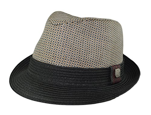 0bab52d4de1a9 Mens Big Size 2 Tone Summer Straw Fedora Trilby Hat XL(60cm) XXL(62cm) 2  Colors (XXL - 24 1 4 IN   7 3 4   62cm