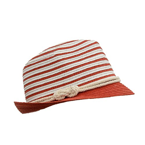 Nautical Style Straw Panama Fedora, Thin Striped Summer Hat with Rope Hatband, Packable (Red White)