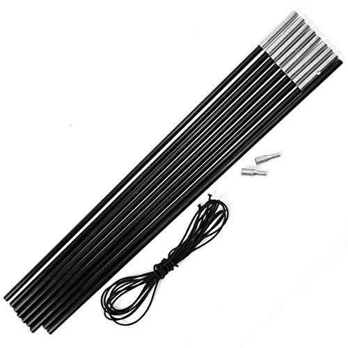 Replacement Fibreglass Pole Kit Shock Corded Camping Tent Equipment Black 4.5M X 8.5MM 9 Sections (Pole Section Replacement)