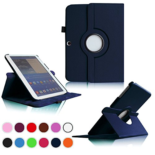 b 3 10.1 Tablet PC Case-360 Rotating Hard Smart Shell Stand Cover Case for Galaxy Tab 3 10.1 inch GT-P5200 (Navy Blue) ()