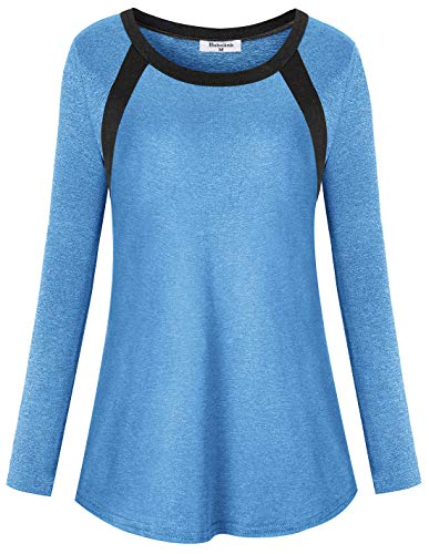 (Bobolink Yoga Clothes for Women Plus Size, 1x Ladies Loose Fit Workout Shirts Long Sleeve Round Neck Roomy Running Hiking Tshirt Travel Holiday Climbing Tops for Youth Gymwear Exercise Tee)