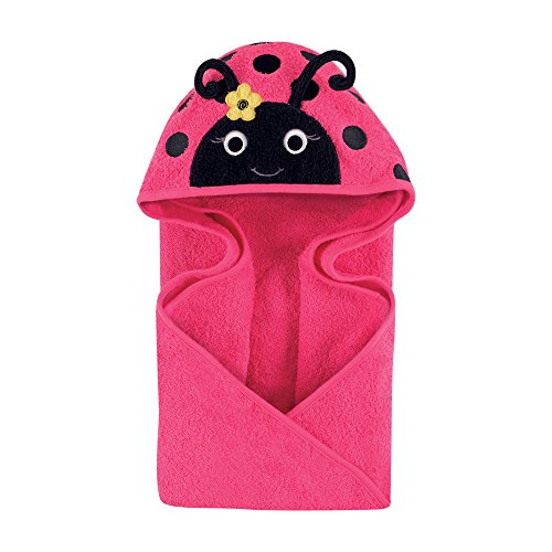 Hudson Baby Unisex Baby Animal Face Hooded Towel, Miss Ladybug 1-Pack, One Size