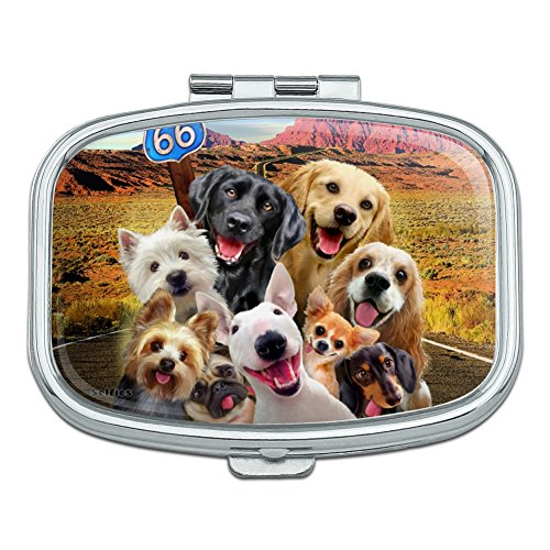 Route 66 Southwest Dogs Selfie Lab Retriever Westie Rectangle Pill Case Trinket Gift Box