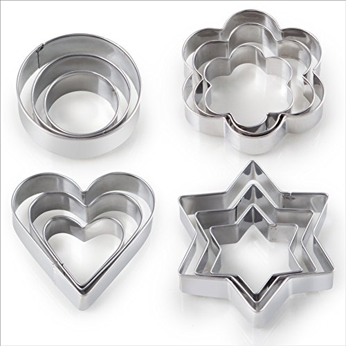 12PCS Cookie Cutter Shape For Kitchen & Dining, -3 Stars, 3 Flowers, 3 Round, 3 Hearts Shape, Mini Metal Geometric Vegetable Fruit Biscuit Mold Set, Kids Easter For Baking, Halloween, Christmas