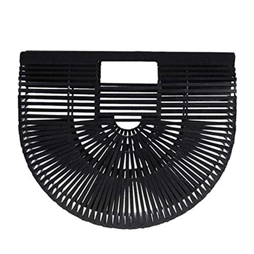 - Fashion Outdoor Summer Bamboo Handbag For Ladies Women Half Round Bamboo Bag Woven Straw Beach Bag Basket Female Tote Bags Wooden Purse Black Small 28CM