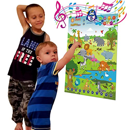 - Just Smarty Interactive Happy Zoo Poster, Preschool Animal Learning Toy for 3, 4, 5, 6 Year Old Boys and Girls. Toddler Educational Activities with Music, Playing, Singing for Daycare, Kindergarten