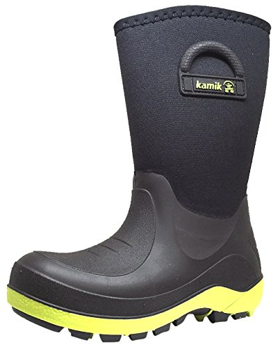 Kamik Kids Bluster Rain Boots Black & Lime (Kamik Lined Snow Boots)