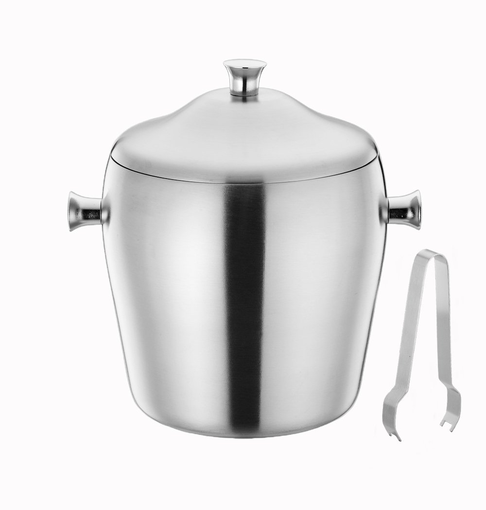 TeamFar Ice Bucket, Stainless Steel Ice Bucket with Lid, Insulated Double Wall, Attach Ice Tong, Perfect for Bar Party Gathering and Home Use