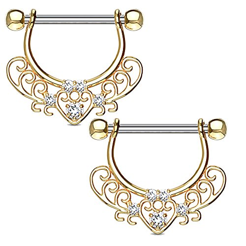 MoBody One Pair Surgical Steel Filigree Heart Dangle Nipple Ring CZ Jeweled Drop Nipple Jewelry 14G (1.6mm) (Gold-Tone)
