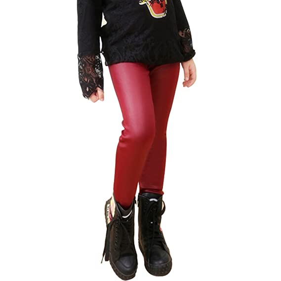16866a2a1f1a69 Tulucky Girls Winter Warm Pants Thick Fleece Lined Faux Leather Stretchy Teens  Leggings(WineRed,