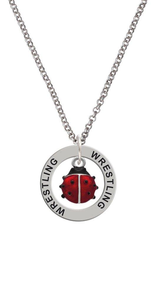 Silvertone Mini Red Translucent Ladybug - Wrestling Affirmation Ring Necklace