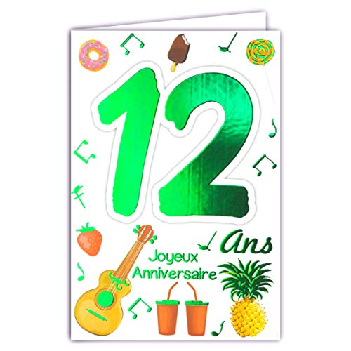 69-2012 Happy Birthday Card 12 Years Teenagers Boy Girl - Cup Winner Champion Champion Cakes Cupcakes Musical Instruments Football