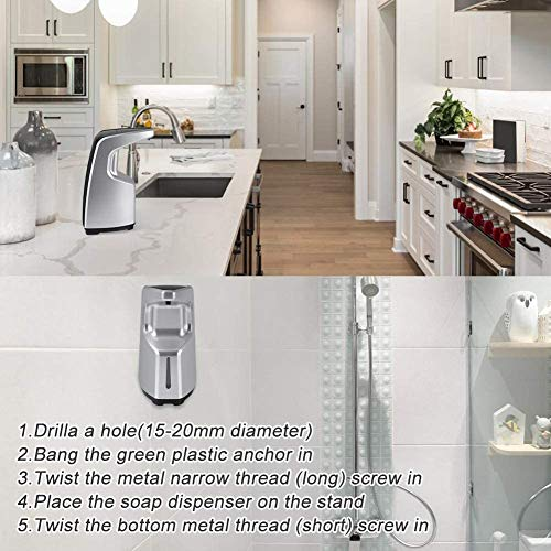 VOLADOR Automatic Soap Dispenser, 15.2oz/450ml Touchless Hand Sanitizer Dispenser with Infrared Motion Sensor, No Touch Battery Operated Hand Soap Dispenser Countertop or Wall Mounted - Silver