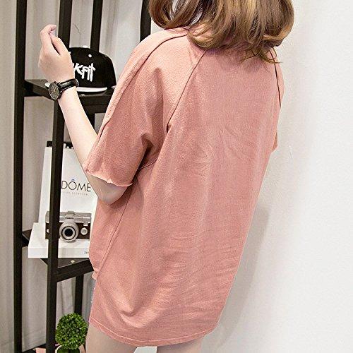 Stampato Digitale Estivi shirt Ragazza Camicia T Fashion Camicetta Abbigliamento Sciolto Huixin Manica Corta Tops Casual Donna Shirts Base Elegante Pink z0C46xYq