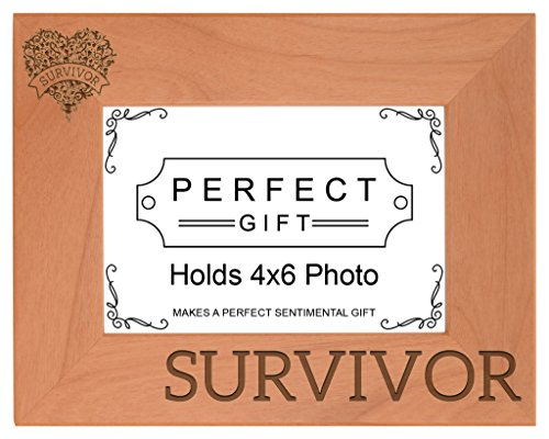 ThisWear Breast Cancer Awareness Survivor Heart Support Natural Wood Engraved 4x6 Landscape Picture Frame ()