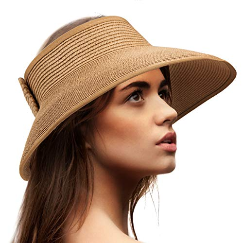 Sun Visor Hats for Women - Khaki Straw Sun Hat Wide Brim Hat Packable Straw ()