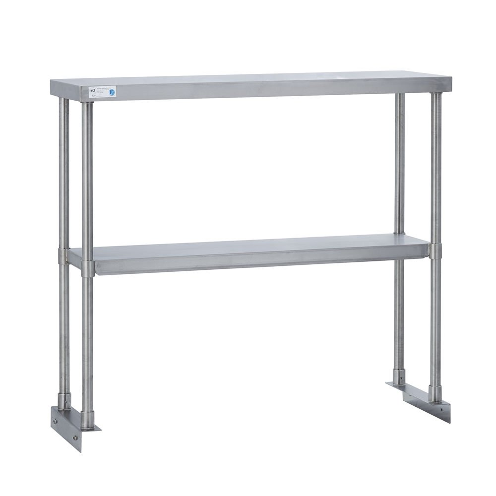 Fenix Sol Commercial Kitchen Stainless Steel Double Overshelf for Work Tables, 12'' W x 96''L x 31''H, NSF Certified
