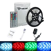 ALED LIGHT Led Strip 16.4FT/5M 5050 RGB 150 SMD Waterproof+44 Key IR Remote Controller+2A Power Adapter+Receiver for Home Lighting & Kitchen and Indoor Decorative