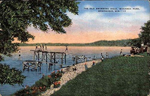 The Old Swimming Hole at Wakanda Park Menomonie, Wisconsin Original Vintage Postcard by CardCow Vintage Postcards