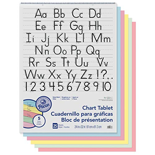 Ruled Manuscript Cover 1/2 - Pacon PAC74733 Chart Tablet, Manuscript Cover, Assorted 5 Colors Inside, 1-1/2