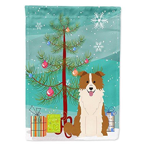 Caroline's Treasures BB4244GF Merry Christmas Tree Border Collie Red White Garden Size Flag, Small, Multicolor