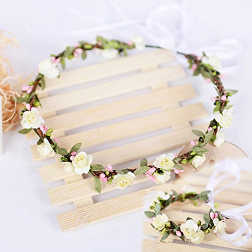 Elegant Hippie Girl Flower Headpiece Silk Green Leaf Double Paper Rose Handmade Floral Circlet 16-17cm and Handband 4-5cm with Ribbon Custom Sizes Head Accessories(ivory)