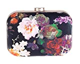 Women's Floral Print PU Leather Hardbox Clutch Colorful Mini Prom Evening Bag with Chain(Rose)