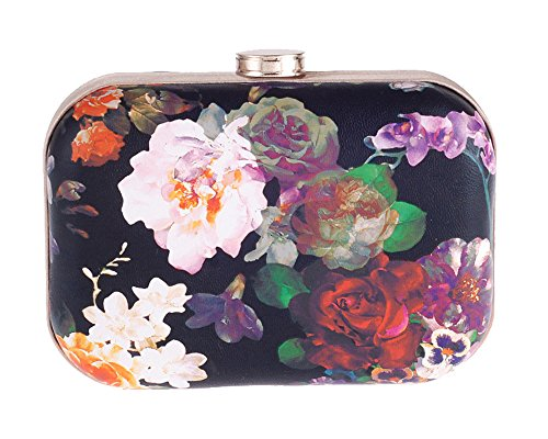 Women's Floral Print PU Leather Hardbox Clutch Colorful Mini Prom Evening Bag with Chain(Rose) by staychicfashion