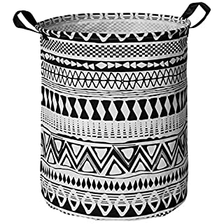 HUAYEE 19.6 Inches Large Laundry Basket Waterproof Round Cotton Linen Collapsible Storage bin with Handles for Hamper Kids Room,Toy Storage(Black Geometry)