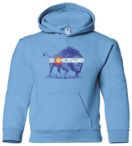 - Threadrock Kids Buffalo Colorado Flag Youth Hoodie Sweatshirt M Light Blue