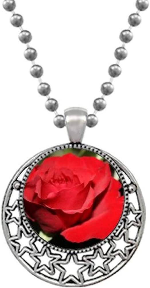 Beauty Gift Red Big-Sized Roses Flowers Necklaces Pendant Retro Moon Stars Jewelry