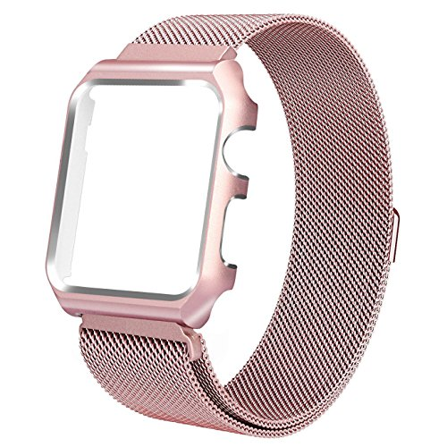 (for Apple Watch Bands 38mm, Maxjoy iWatch Bands Milanese Loop Stainless Steel Straps with Magnetic Clasp + Protective Case for Apple Watch 38mm Series 3/2/1 Sports Edition Men Women Rose Gold)