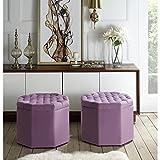Inspired Home Nova Mauve Velvet Storage Ottoman – Upholstered | Tufted | Livingroom, Entryway, Bedroom Review